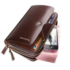 Men Cowhide Vintage Leather Day Clutch Handbag Executive Organizer Wallet Brown