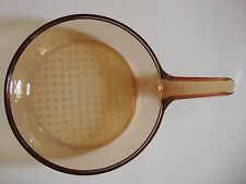 "Corning Pyrex Vision Amber Glass Skillet Frying Pan 7"" Round FRANCE"
