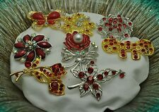 Wholesale Lot 8  Vintage Style  Brooches Pins Red  Bouquet #JJ16