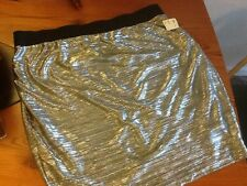 NWT Forever 21 Plus Size 3 X  silver skirt Bling