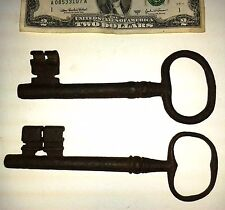 "2 Rare vintage skeleton keys huge cast iron massive 6 1/2"" jail? church? LI86"