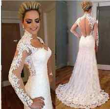 New Lace Tulle White/ivory Wedding dress Bridal Gown Size : 6-8-10-12-14-16++++