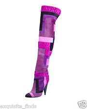 New TOM FORD Geometric Patchwork Fur Over-the-Knee Boots 37 - 7