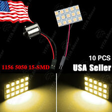 10X RV Trailer 180LM 5050 15-SMD Warm White LED Light Panel +1156 BA15S Adapter
