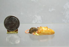 Dollhouse Miniature or Fairy Garden Rat or Mouse eating Loaf of Bread
