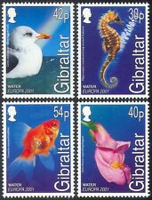 Gibraltar 2001 Europa/Water/Seahorse/Gull/Goldfish/Flower/Birds/Fish 4v (b5527)