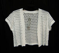 WHITE OPEN FRONT/WEAVE KNIT CROCHET CROP CARDIGAN JACKET SWEATER SHRUG TOP~1X