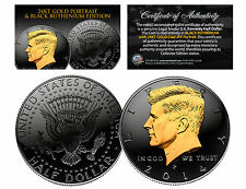 Black Ruthenium & 24Kt Gold Clad 2014 Jfk Kennedy Half Dollar U.S. Coin - P Mint