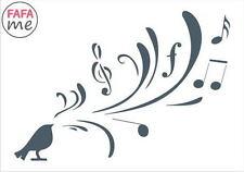10.5 x 15cm Stencil Rustic, Birds, Vintage, music notes Decoupage - SE177