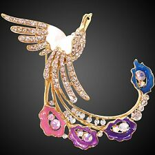 Peafowl White Enamel 18K GP Crystal Peacock Peahen Feather Brooch BH7319