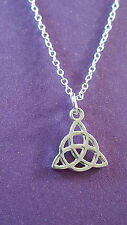 Celtic Trinity Knot Triquetra Pendant on a Fine Silver Plated Chain Necklace  c4