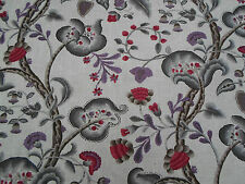 William Yeoward Fabric  'Marlena' Plum 3.9 METRES (390cm)  Linen Mix  - Floral