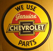 Round Tin Sign - Chevrolet - Old Style Genuine Chevy Auto Parts Ad Man Cave Sign