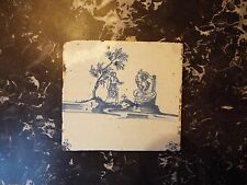Antique dutch delft biblique tile