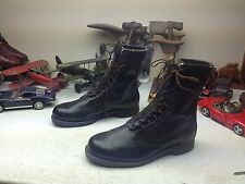 1975 ADDISON MILITARY USA BLACK LEATHER LACE UP MOTORCYCLE ARMY BOOTS 10.5 E
