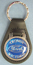 Blue Ford CROWN VICTORIA Black Leather Keyring Center Oval 1955 1956 1957 1958
