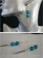 Teal Turquoise 3D Miracle Bead Dangle Silver Spike Pierced Earrings Handcrafted