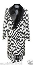 New Versace Printed Wool Coat With Mink Fur for Men 50 - 40