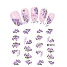 20 nail stickers water transfer DECALS PURPLE FLOWER-tattoo adesivo-FIORI VIOLA