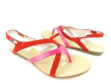NEW Calvin Klein Sherlie Red & Pink Leather Thong Sandal Womens Size 7M