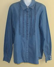 Liz Claiborne Very Special Denim Chambray Detailed Button Down Shirt Sz L