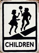 New 30x40cm Children Playing vintage enamel style metal road warning sign