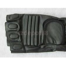 Men Black Leather Fingerless Glove Motorcycle Driving Bike HOOK LOOP Strap