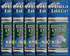 5 Packs Aquafilter Cigarette Filters TOTAL 50 filter Reduces Tar and Nicotine