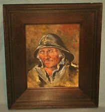 ANTIQUE/VINTAGE OIL PAINTING ON BOARD FRAMED 'SEA/RIVER BOAT CAPTAIN' UNSIGNED