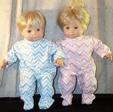 Doll Clothes Baby Twins 2 pr Footed Pajamas fit American Girl Bitty Rick Rack