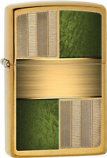 Zippo Choice Brushed Brass with Green Inlays WindProof Lighter 28796 NEW