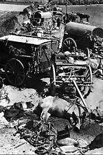 WW2 - Belgique 40 - Destruction par la Luftwaffe d'une colonne hippomobile belge