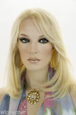 Light Pale Blonde Blonde Medium Premium Remy Human Hair Lace Front Straight Wigs