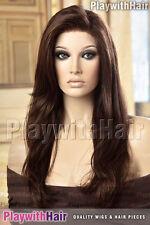 Sexy LONG Silky Lace Front Wig Brown Auburn Blend Mono Top : Jon Renau - Zara