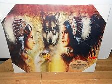 AMERICAN INDIANS #3 LIGHTED CANVAS PICTURES 16 X 20  COUNTRY SIDE