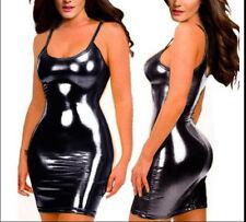 Europe sexy black patent patent leather skirt sexy club Dress + T pants M S012
