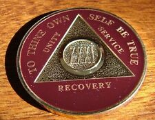 Premium Burgundy Gold Plate Alcoholics Anonymous 31 Year Medallion Coin Token