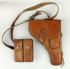 SURPLUS CHINESE ARMY PLA LEATHER 54 HOLSTER WITH MAGAZINE POUCH HOLDER BAG-L0028