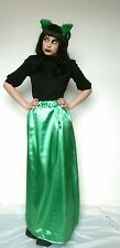 Bright green maxi long trail train gothic satin skirt stretchy gorgeous