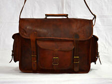 Real genuine vintage leather messenger brown camera lens satchel bag briefcase