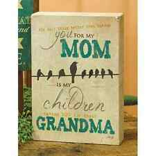 Mom & Grandma Wood Block Sign w/ Birds Country Primitive Mother's Day Gift
