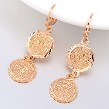 Dangle Small Double-Coin Yellow Gold Filled Drop Hoop Earrings Korean Jewelry