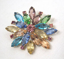 Vtg Multi-Color Rhinestone Brooch Juliana Dazzling Spectacular Pin Watermelon