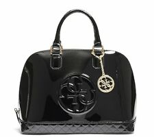 NEW Guess Amy Dome Patent Satchel Bag Handbag, Black