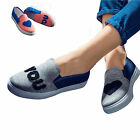 Women Girl Lover Fashion Casual Canvas Shoes Slip On Flats Platform Sneaker