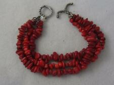 TRIPLE STRAND MEDITERRANEAN CORAL & STERLING SILVER TOGGLE CLASP BRACELE
