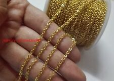 10m Thin 2mm Strong Oval Link Chain Stainless Steel Jewelry Finding Chain Gold