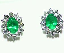 2.62CT 18K GOLD NATURAL CUT EMERALD WHITE DIAMOND VINTAGE ENGAGEMENT EARRINGS