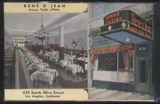POSTCARD LOS ANGELES CALIFORNIA/CA RENE & JEAN FRENCH RESTAURANT DUAL VIEW 1030s