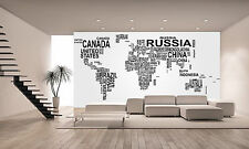 World Map with Country Name Wall Mural Photo Wallpaper GIANT WALL DECOR